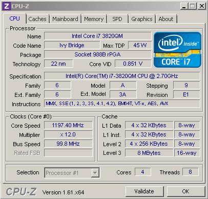 Характеристики процессора Core i7 3820QM