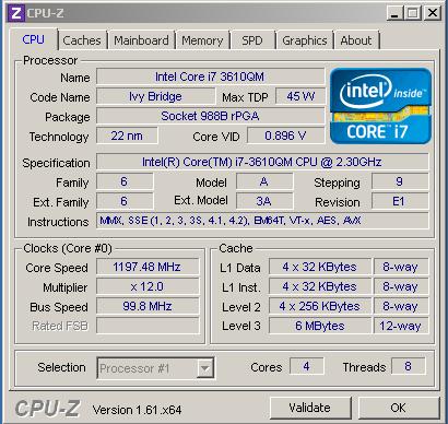 Характеристики процессора Core i7 3610QM