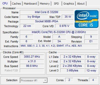 �������������� ���������� Intel Core i5-3320M