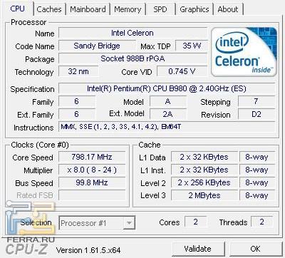 �������������� ���������� Intel Pentium B980