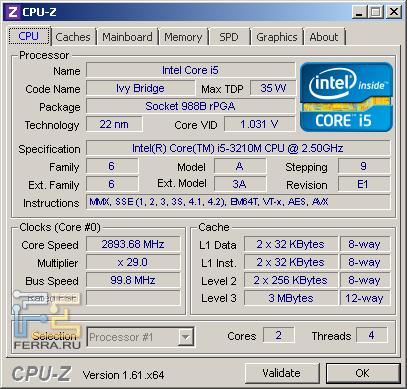 Samsung NP350V5C-S05RU, скриншот CPU-Z, вкладка «CPU»