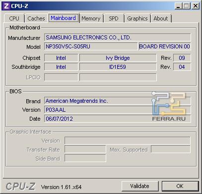 Samsung NP350V5C-S05RU, скриншот CPU-Z, вкладка «Mainboard»