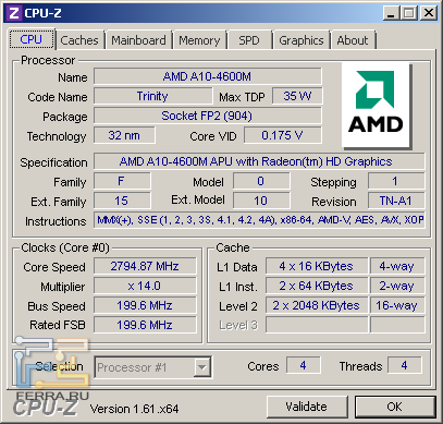 Samsung NP355V5C-S09RU, скриншот CPU-Z, вкладка «CPU»