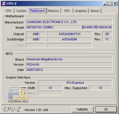 Samsung NP355V5C-S09RU, скриншот CPU-Z, вкладка «Motherboard»