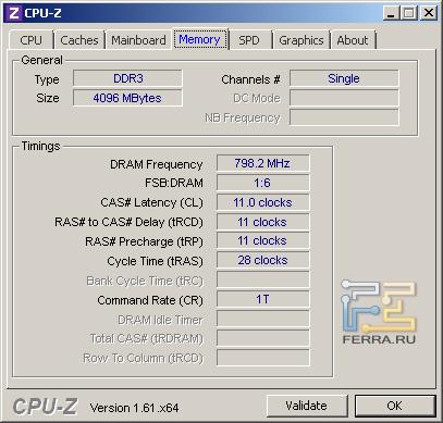 Samsung NP350V5C-S05RU, скриншот CPU-Z, вкладка «Memory»