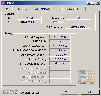 Samsung NP355V5C-S09RU, скриншот CPU-Z, вкладка «Memory»