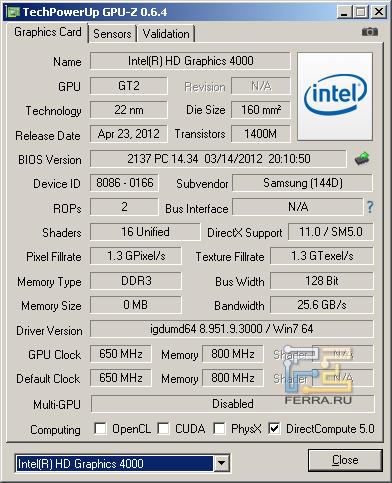 Samsung NP350V5C-S05RU, скриншот GPU-Z, видеоядро Intel