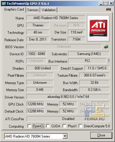 Samsung NP350V5C-S05RU, скриншот GPU-Z, видеокарта AMD