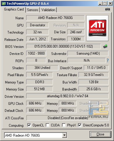 Samsung NP355V5C-S09RU, скриншот GPU-Z, CrossFireX выключен