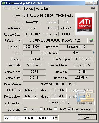 Samsung NP355V5C-S09RU, скриншот GPU-Z, CrossFireX включен. GPU-Z обрадовался и где-то нашёл третий GPU.