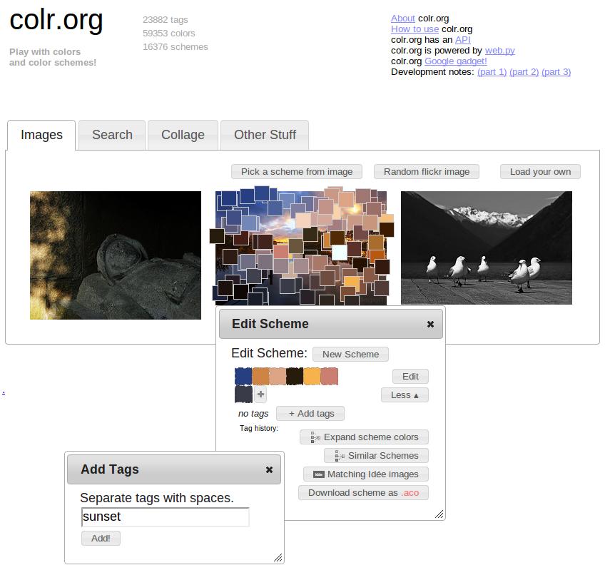 Составление цветовой схемы по изображению на сайте Colr.org.