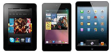 Amazon Kindle Fire HD, Google Nexus 7 и iPad mini