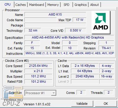 Характеристики процессора AMD A6-4455M