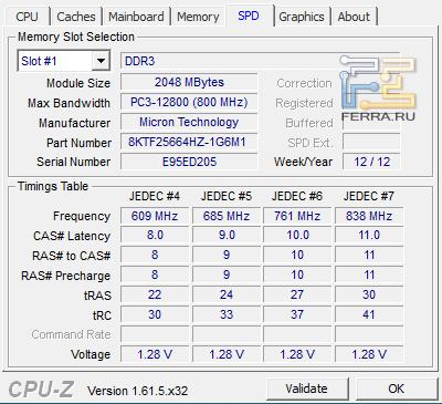 Характеристики 2-х гигабайтного модуля DDR3 HP ENVY 6-1031er