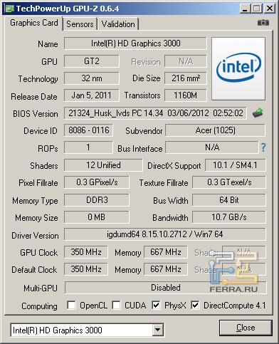 Интегрированная видеокарта Acer Aspire V5-571G-32364G32Makk