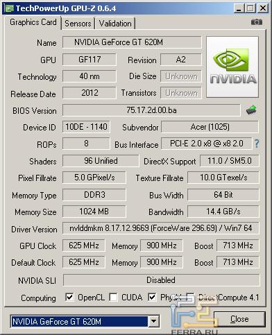 Дискретная видеокарта Acer Aspire V5-571G-32364G32Makk