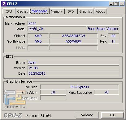 Материнская плата Acer Aspire V3-551G, CPU-Z