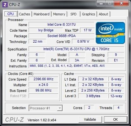 �������������� ���������� Intel Core i5-3317U