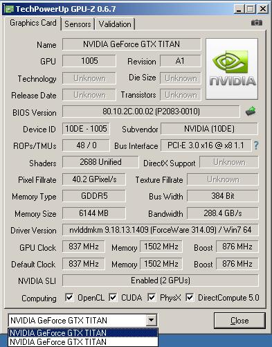 NVIDIA GTX TITAN SLI