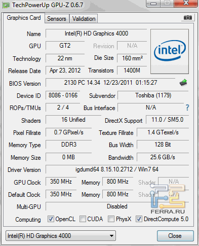 �������������� ����������� ��������� Intel HD Graphics 4000