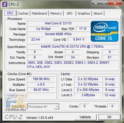Характеристики процессора Intel Core i5-3317U