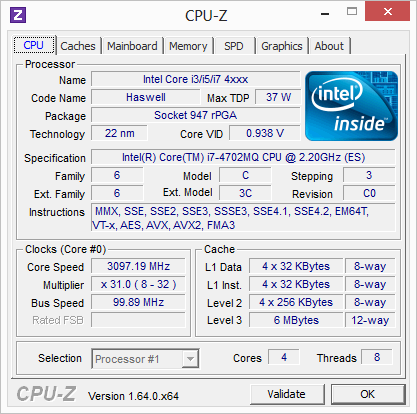 �������������� ���������� Intel Core i7-4702MQ