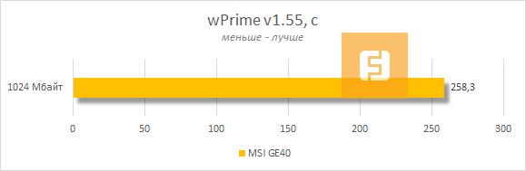 ���������� MSI GE40 � wPrime v1.55