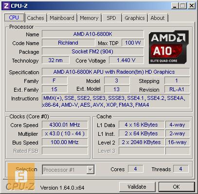 AMD A10-6800K, �������, CPU-Z