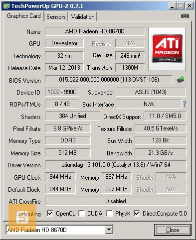��������� Radeon HD 8670D, �������, GPU-Z