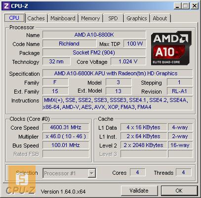 AMD A10-6800K, ������, CPU-Z