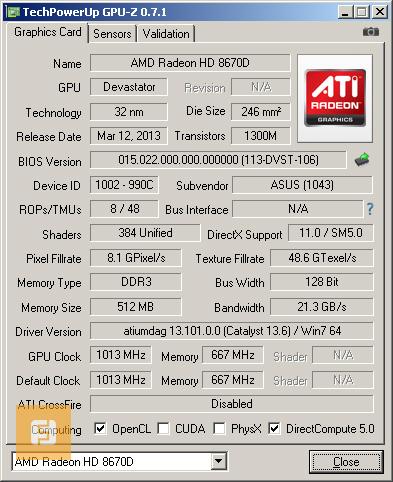 ��������� Radeon HD 8670D, ������, GPU-Z