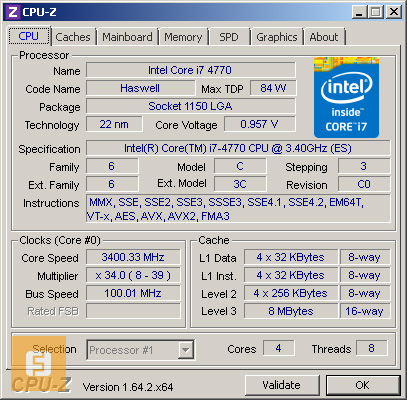 Intel Core i7-4770, CPU-Z, номинал