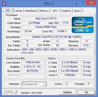 Характеристики процессора Intel Core i3-3217U