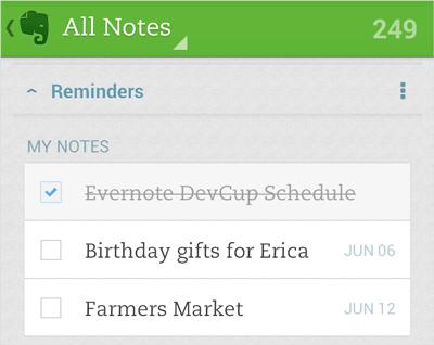 В Evernote для Android появились напоминания