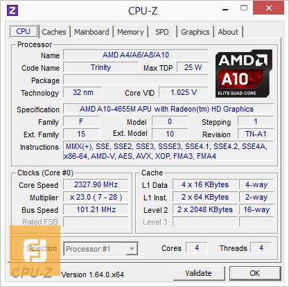Характеристики процессора AMD A10-4655M