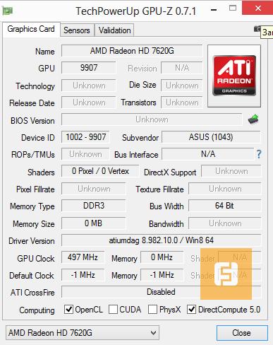 Характеристики встроенного видеочипа AMD Radeon HD 7620G