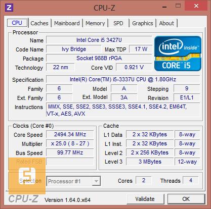 Характеристики Intel Core i5-3337U
