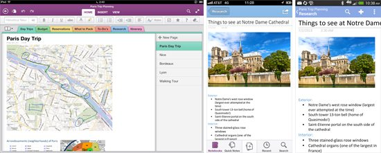 ; OneNote iPad, iPhone Android