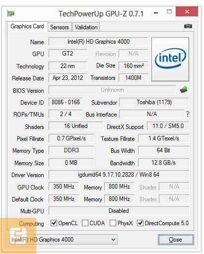 Спецификации графического ядра Toshiba Satellite U920-D4S