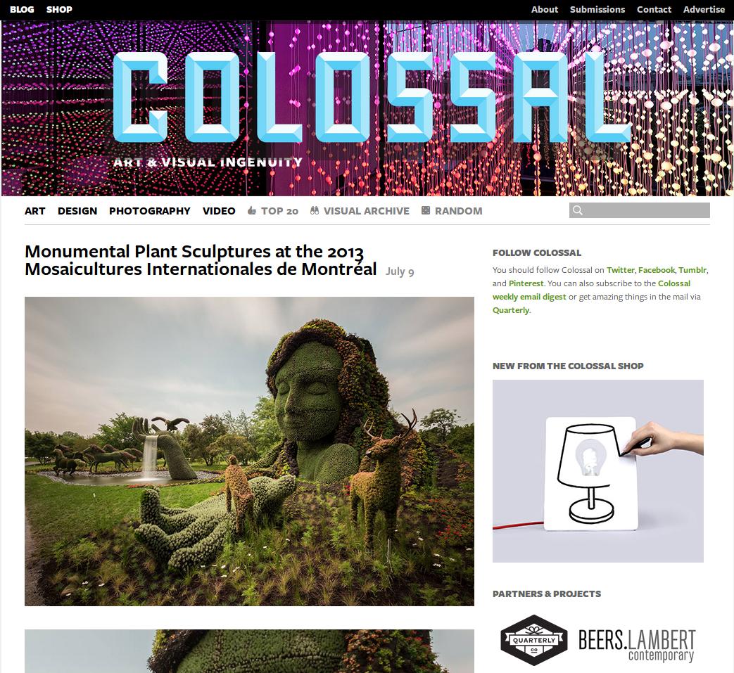 Главная страница сайта Colossal