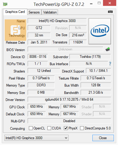 Спецификации Intel HD Graphics 3000