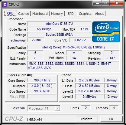 �������������� ���������� Intel Core i5-3437U