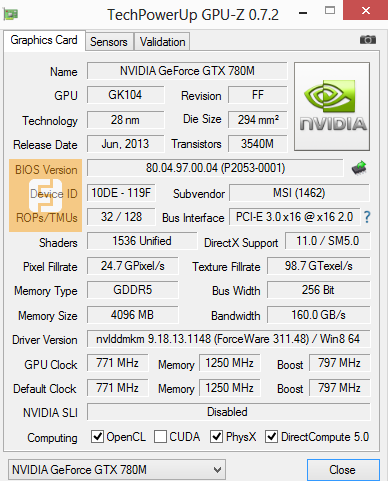 Спецификации NVIDIA GeForce GTX 780M