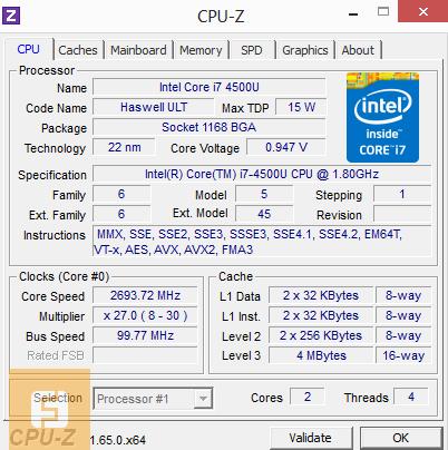 ������������ Intel Core i7-4500U