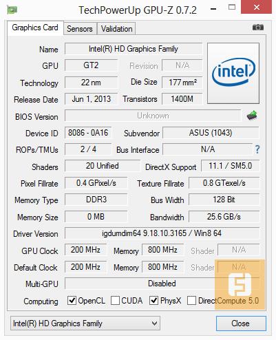 ������������ Intel HD Graphics 4400 (Intel Core i7-4500U)