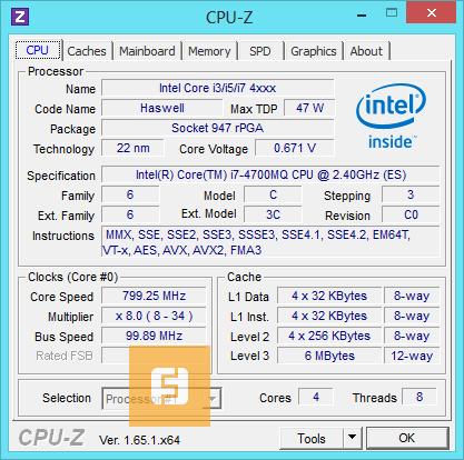 Характеристики процессора i7-4700MQ