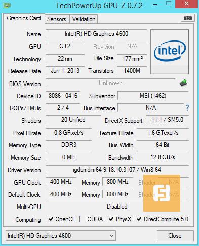 Характеристики видеоядра Intel HD Graphics 4600