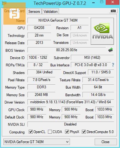 Характеристики NVIDIA GeForce GT 740M
