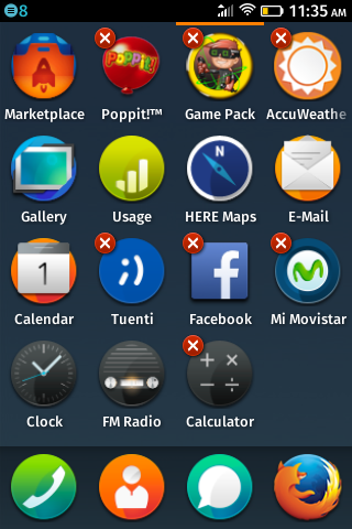 Настройка главного меню на ZTE Open на Firefox OS