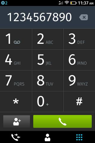 Интерфейс «телефона» на ZTE Open на Firefox OS
